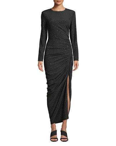 Amara Ruched Long-Sleeve Embellished Dress