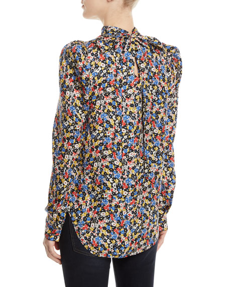 Mena Gathered Floral Puff-Sleeve Top