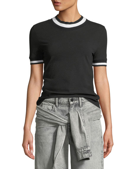 alexanderwang.t Twist Jersey Short-Sleeve Tee with Striped Trim