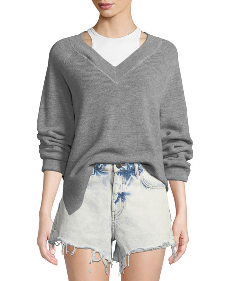 alexanderwang.t Long-Sleeve Wool Raglan Sweater with Tank
