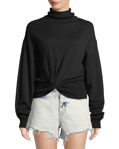 Double Layered Knotted Turtleneck Sweater