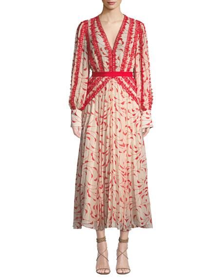 SELF-PORTRAIT Printed Chiffon Lace Pleated Long-Sleeve Midi Dress