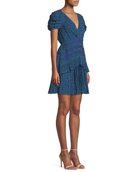 Dot-Print Chiffon Lace-Trim Short dress