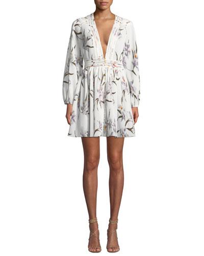 Corsage Floral Plisse Long-Sleeve Mini Dress