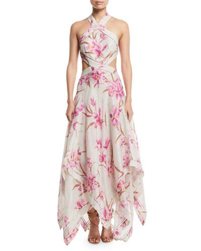 Corsage Floral Cutout Scarf Maxi Dress