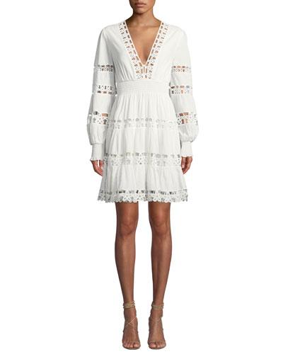 Primrose Daisy Embroidered Long-Sleeve Short Dress