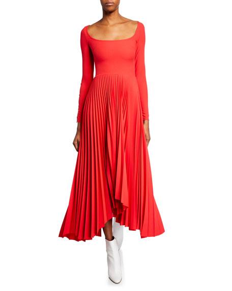 A.w.a.k.e. Dresses SCOOP-NECK LONG-SLEEVE PLEATED DRESS