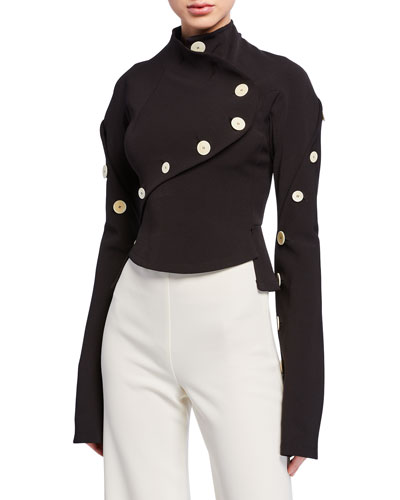 High-Neck Long-Sleeve Top with Buttons