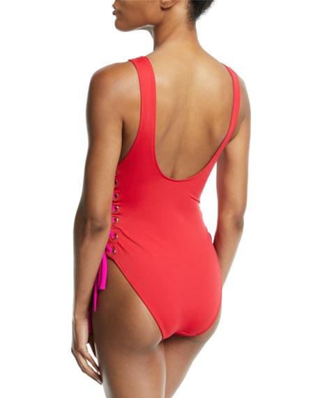 Zissou Lace-Up One-Piece Swimsuit