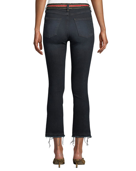 Carolyn High-Rise Cropped Jeans with Striped Waistband