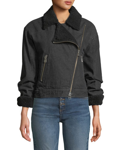 Rosina Denim Moto Jacket with Sherpa Lining