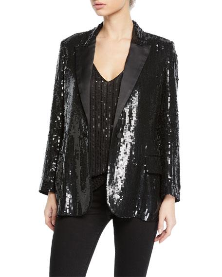 L'Agence Neval Sequin Single-Button Blazer