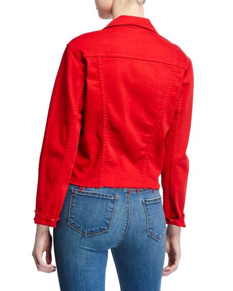 Janelle Slim Cropped Jean Jacket with Raw Hem