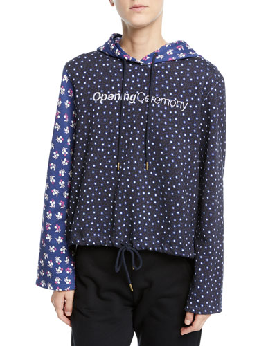 Cropped Floral-Print Cotton Logo Hoodie