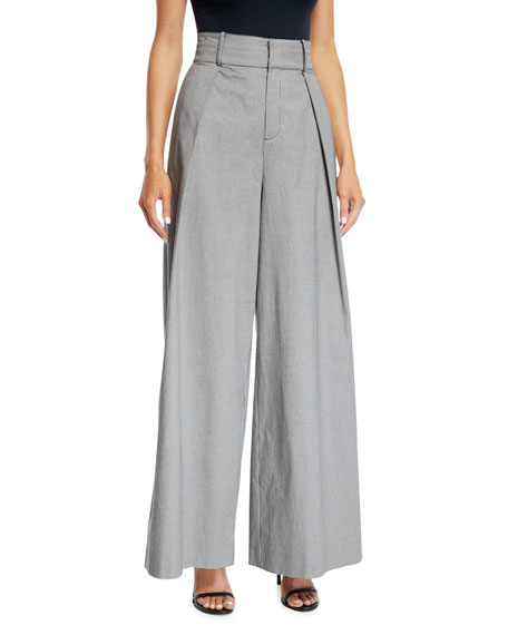 Pleated High-Waist Check Wide-Leg Trousers