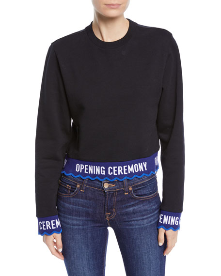 Scalloped Logo Cropped Pullover Sweatshirt in 0001 Black