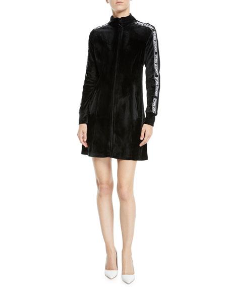 Plush Velour Logo Long-Sleeve Track Dress in 0001 Black