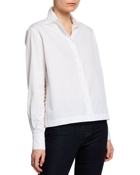 Anais Jourden Draped Button-Up Blouse with Confetti Details