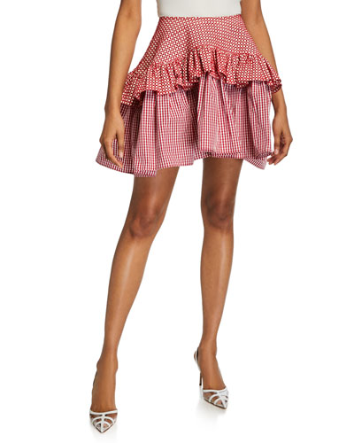 Embroidered Faux-Leather Gingham Ruffle Skirt