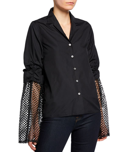 Poplin Button-Up Blouse with Mesh Sleeves
