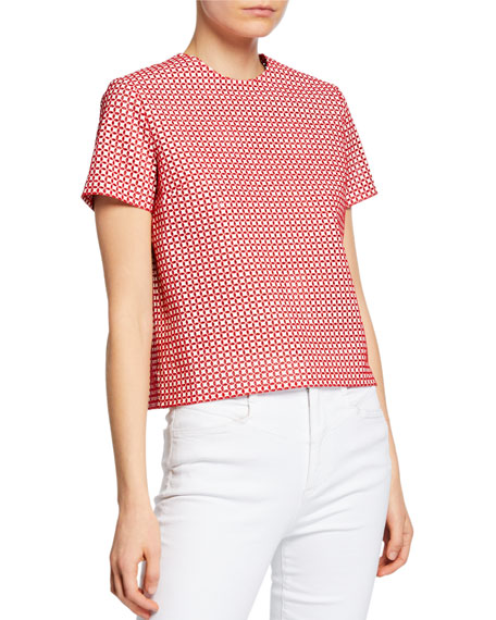 Anais Jourden Faux-Leather Embroidered Short-Sleeve Top
