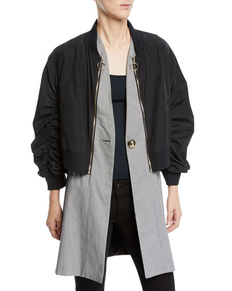 Image 1 of 1: Zip-Off Bomber Coat with Vest