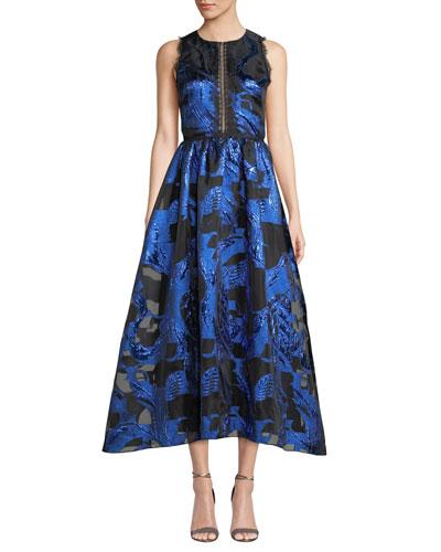 Fil Coupe & Lace Cutout Dress