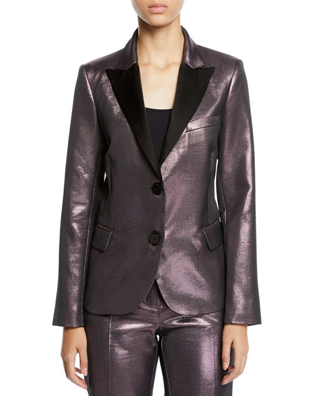 PINKO Metallic Peak-Lapel Two-Button Blazer