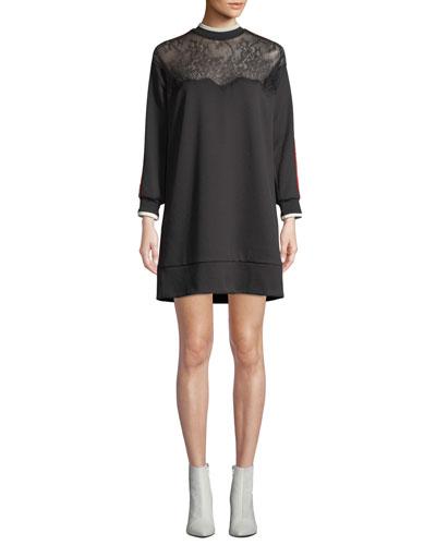 Lace Racer-Stripe Short Sweatshirt Dress