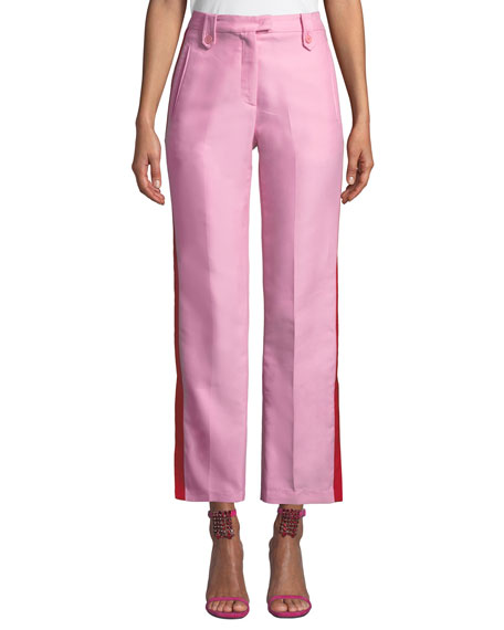 PINKO Side-Stripe Straight-Leg Tuxedo Pants