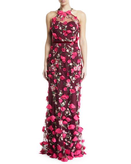 Marchesa Notte 3D Chiffon Flower Halter Gown