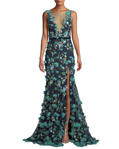 Plunging-Illusion 3D Flower Trumpet Gown