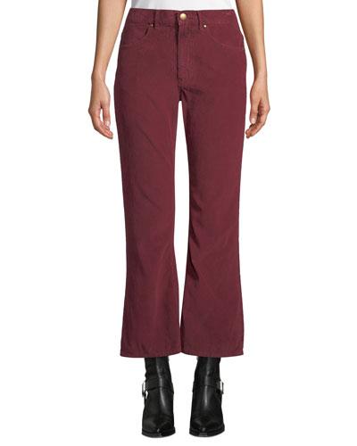 The Western Crop Flare-Leg Corduroy Jeans
