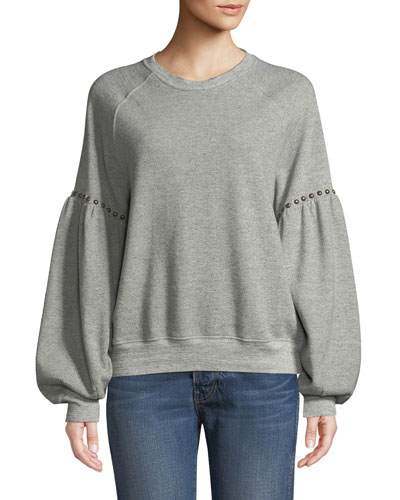 Studded Bishop-Sleeve Crewneck Sweatshirt