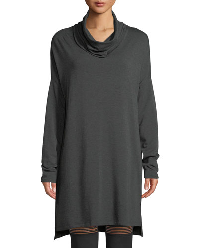 Cowl-Neck Long-Sleeve Sweater Dress