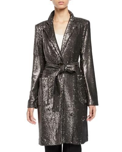 Sultana Sequin Self-Tie Coat