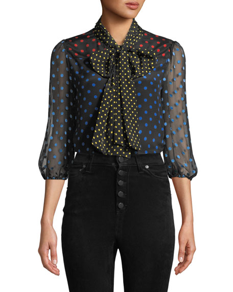 Alice + Olivia Jeannie Bow-Collar Blouson-Sleeve Button-Down Top