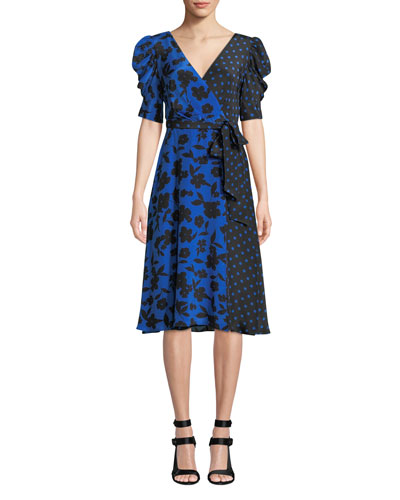 Siona Puff-Sleeve Midi Dress