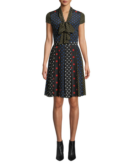 Alice + Olivia Sanda Tie-Neck Dress