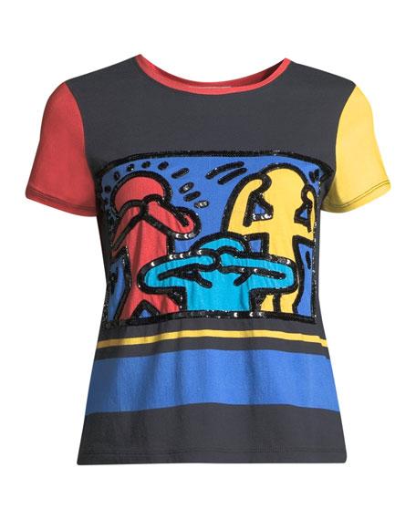 Keith Haring x Alice + Olivia Rylyn Embroidered Short-Sleeve Crewneck Tee