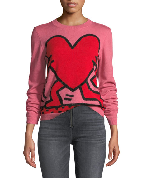 Chia Relaxed Intarsia Crewneck Pullover Sweater