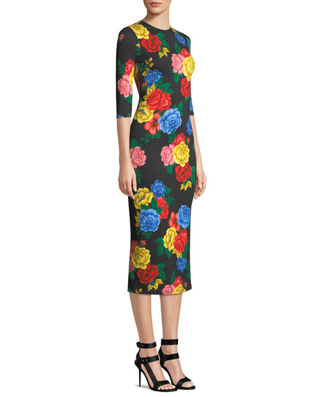 Delora Fitted Floral Crewneck Dress