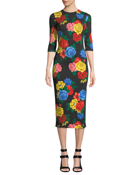 423752ff24a71f Alice + Olivia Delora Fitted Floral Crewneck Dress