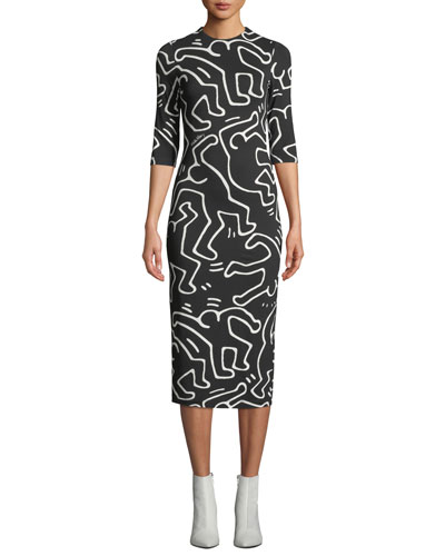 03c825a222 Keith Haring x Alice + Olivia Delora Fitted Crewneck Dress