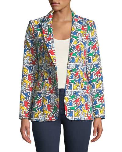 Keith Haring x Alice + Olivia Macey Printed Notch-Collar Blazer