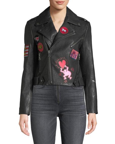 Keith Haring x Alice + Olivia Cody Cropped Leather Moto Jacket
