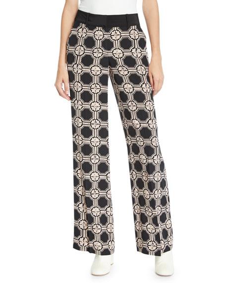Derek Lam 10 Crosby Printed Silk Wide-Leg Pajama Pants b75c82401