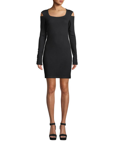 Slash Scoop-Neck Long-Sleeve Sheath Dress