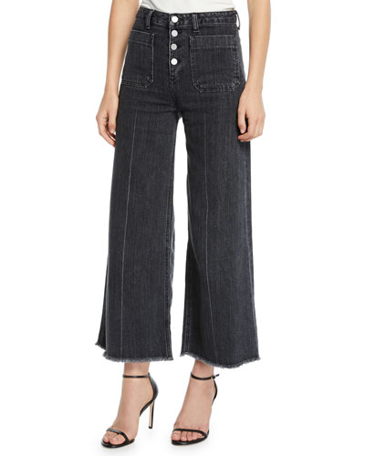 Carmine Wide-Leg Frayed Jeans with Button Fly