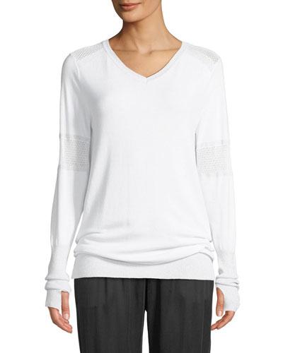 Spirit Mesh-Insert V-Neck Pullover Sweater